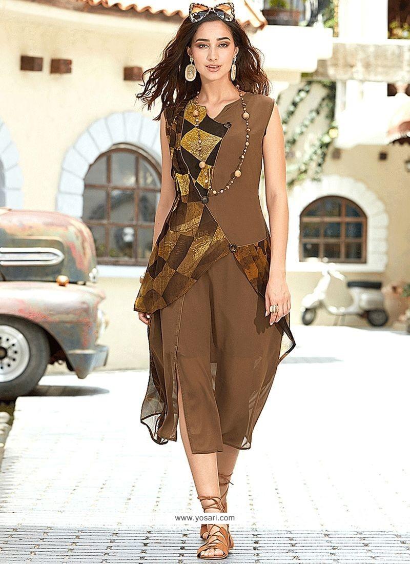 Brown Print Work Party Wear Kurti