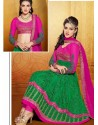 Green And Pink Net Designer Lehenga Choli