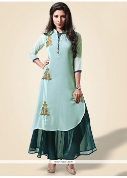 Embroidered Work Green Party Wear Kurti