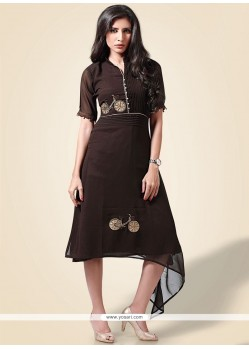 Embroidered Work Faux Georgette Brown Party Wear Kurti