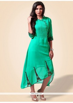 Sea Green Embroidered Work Party Wear Kurti