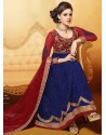 Blue And Maroon Net Designer Lehenga Choli