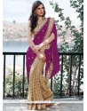 Cotton Beige And Purple Embroidered Work Designer Half N Half Saree