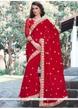 Patch Border Work Red Viscose Classic Designer Saree