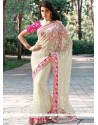 Net White Designer Saree