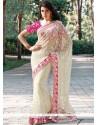 Net White Designer Saree