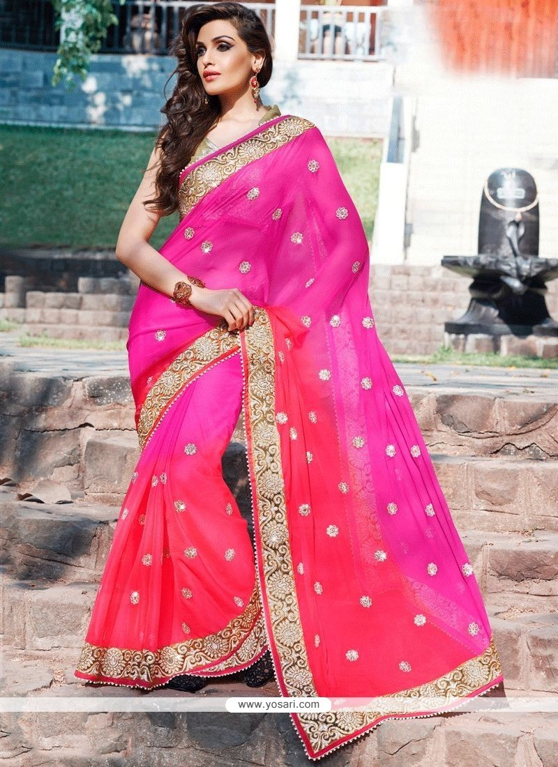 Patch Border Work Hot Pink Faux Georgette Shaded Saree