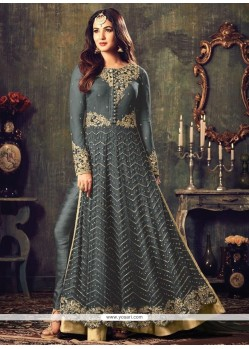Grey Zari Work Floor Length Anarkali Suit