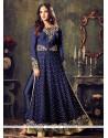 Navy Blue Net Floor Length Anarkali Suit