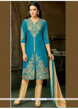 Resham Work Blue Pant Style Suit