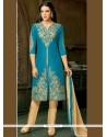 Resham Work Blue Pant Style Suit