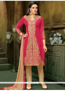 Resham Work Art Silk Hot Pink Pant Style Suit