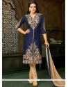 Navy Blue Resham Work Art Silk Pant Style Suit