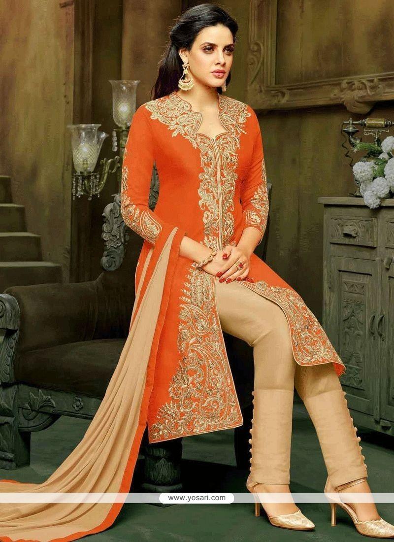 Resham Work Orange Art Silk Pant Style Suit