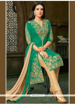 Resham Work Sea Green Pant Style Suit
