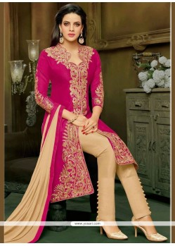 Art Silk Rani Embroidered Work Pant Style Suit