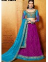 Sky Blue And Pink Net Anarkali Suit