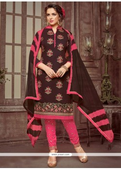 Cotton Brown Embroidered Work Churidar Suit