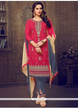 Hot Pink Cotton Churidar Suit