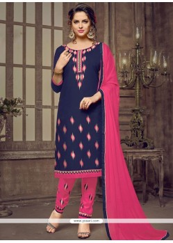 Lace Work Navy Blue Cotton Churidar Suit