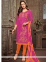 Hot Pink And Orange Embroidered Work Cotton Churidar Suit