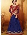 Blue And Maroon Net Anarkali Suit