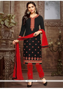 Black And Red Churidar Suit