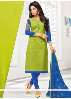 Embroidered Work Green Cotton Churidar Designer Suit
