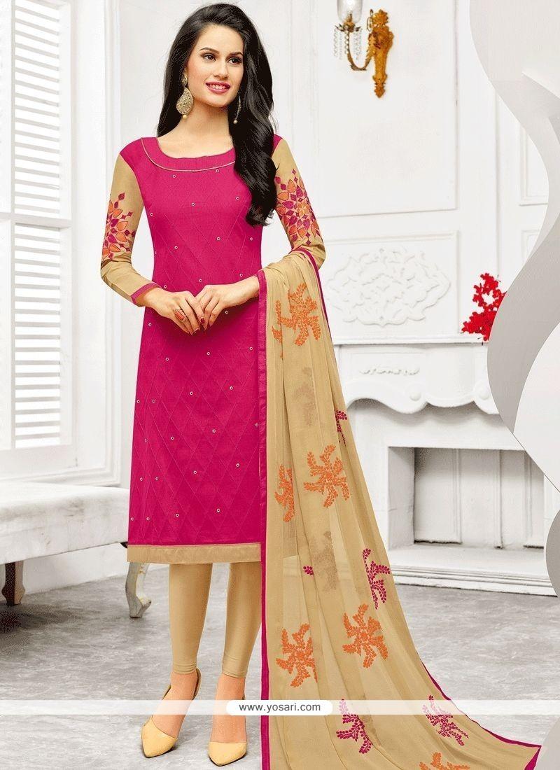 Hot Pink Embroidered Work Churidar Designer Suit