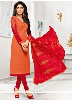 Orange And Red Cotton Churidar Designer Suit