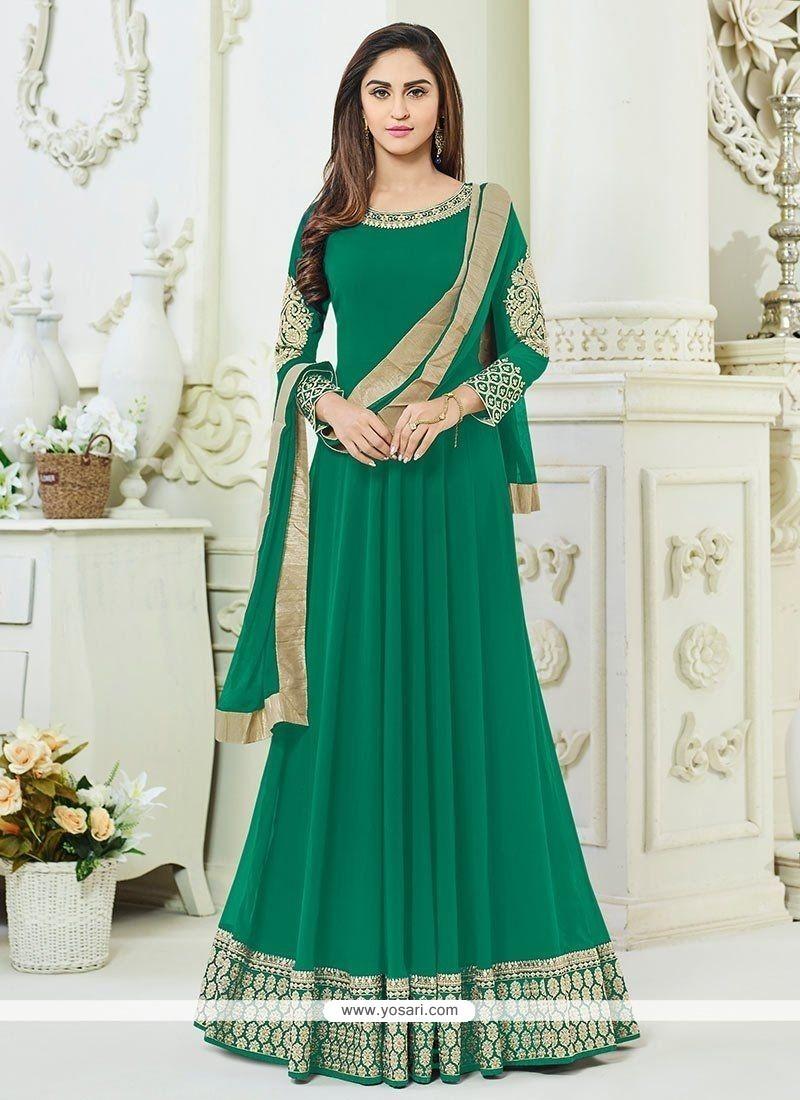 Krystle Dsouza Green Faux Georgette Floor Length Anarkali Suit