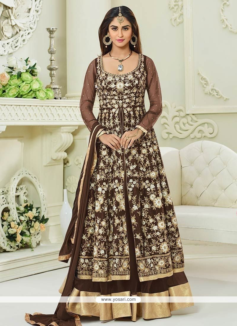 Krystle Dsouza Brown Floor Length Anarkali Suit