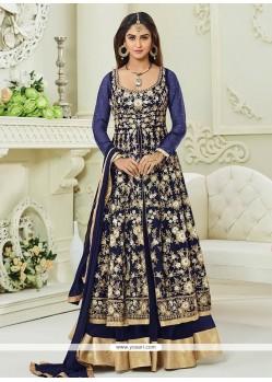 Krystle Dsouza Navy Blue Embroidered Work Floor Length Anarkali Suit