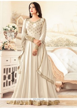 Faux Georgette Off White Floor Length Anarkali Suit