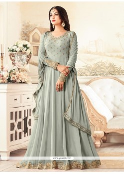 Faux Georgette Zari Work Floor Length Anarkali Suit