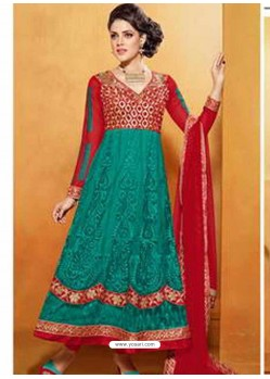Red And Green Net Anarkali Suit
