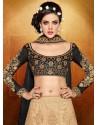 Cream And Black Net Anarkali Suit