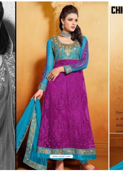Sky Blue And Pink Net Anarkali Suit