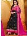 Black And Pink Net Anarkali Suit