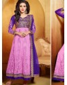 Blue And Pink Net Anarkali Suit