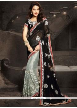 Black And Grey Patch Border Work Net Half N Half Designer Saree