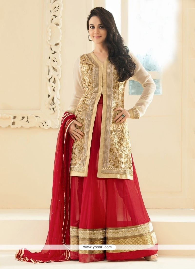 Preity Zinta Beige And Red Faux Georgette Anarkali Suit