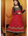 Red And Black Net Anarkali Suit