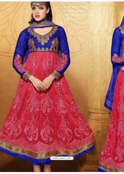 Blue And Red Net Anarkali Suit