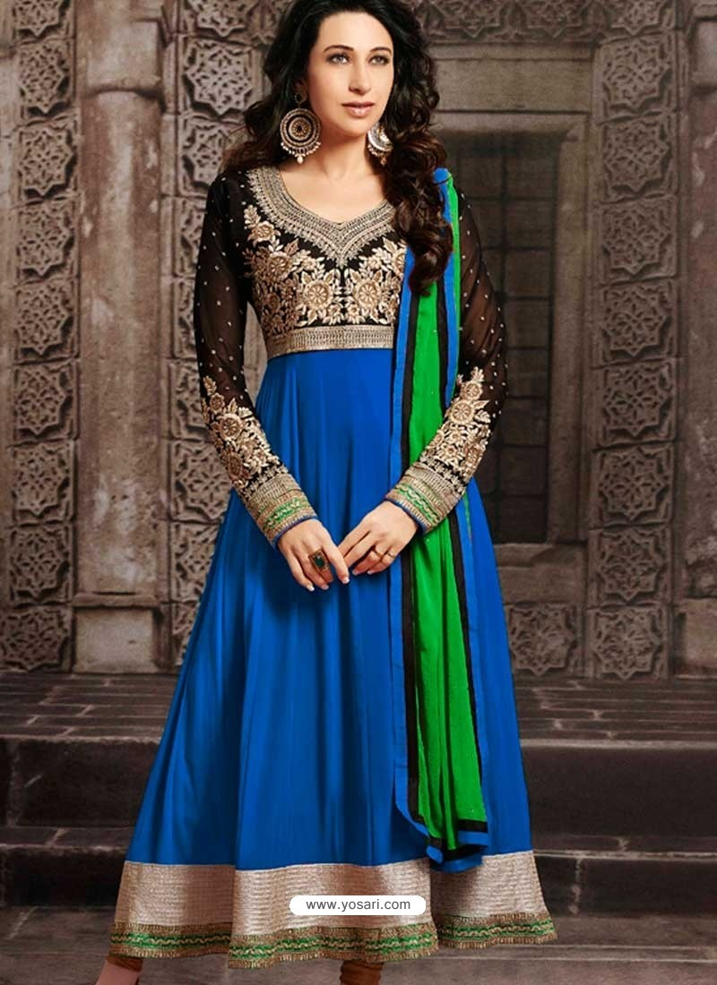 Karishma Kapoor Blue Georgette Anarkali Suit