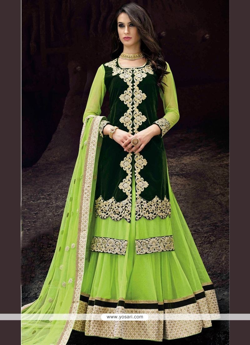 d91697b568 Buy Velvet Green Lace Work Long Choli Lehenga | Designer Lehenga Choli