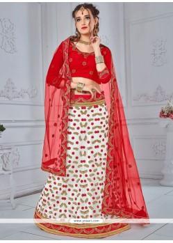 Red And White Lehenga Choli