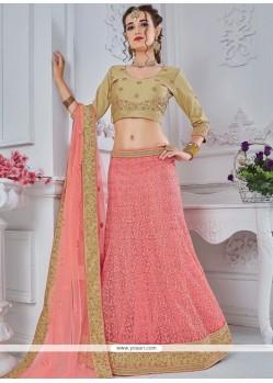Pink Embroidered Work Net Lehenga Choli