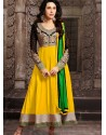 Karishma Kapoor Yellow Georgette Anarkali Suit