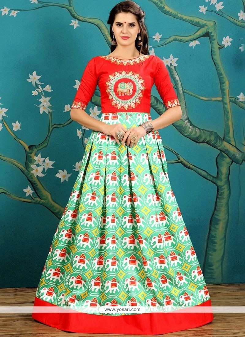addcb2db63 Buy Embroidered Work Art Silk Readymade Gown | Gowns